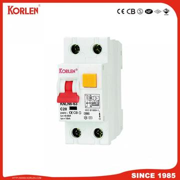 Korlen Magnetic Type IEC61009-1 10ka 1p + N 30/100 / 300mA RCCB with overcurrent Protection with Ce CB TUV Silv