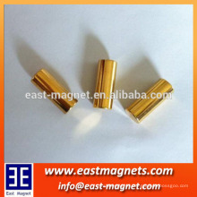 neodyumium magnet bar coat with gold/ndfeb cylinder magnet used for decorate