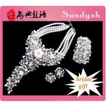 imitação de moda grande antigo conjunto de joias de noiva artificial