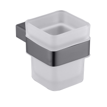 Grey Tumbler Holder With Glass cup
