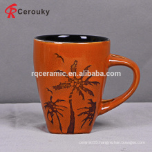 Hot sale orange color stoneware decorative mug
