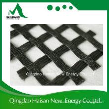 Geogrid de poliéster de fibra sintética de 100% Kn / M com revestimento de PVC