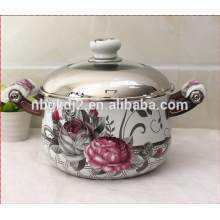 porcelain enamel cookware with coating high quality decal and metal lid ceramic handle