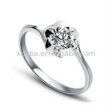 O anel de prata do diamante 925 chapeou os projetos florais do ouro branco da jóia dos anéis para mulheres