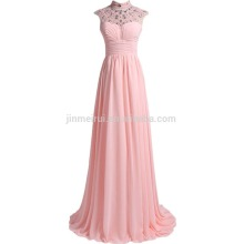 Real Photos 2016 Hot Sale High Collar Chiffon Long Evening Gowns Crystals Beading A-line Sheer Neck Prom Dresses Robe De Soiree