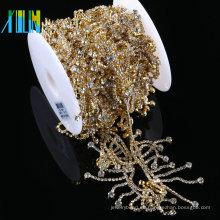 Clear Crystal Glass Tassels Chain Costume Trim Costura Apliques cadena de diamantes de imitación para la boda vestido nupcial accesorios