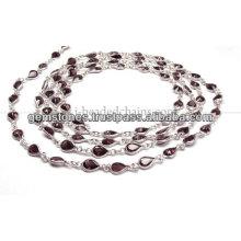 Chaîne à perles Bezel à coupe de poire, Vente en gros de bijoux à grès Garnet