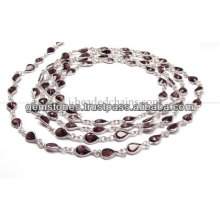 Pear Cut Bezel Beaded Chain, Wholesale Garnet Gemstone Bezel Jewelry Supplier