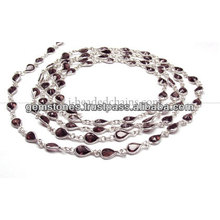 Beading De Corte De Pêra Beaded Chain, Venda Por Atacado Garnet Gemstone Bezel Jewelry Supplier