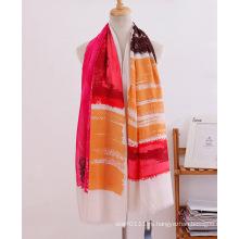 Полосы печатных хлопок женщин длинный шарф (YKY1120)