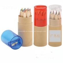 Lápis coloridos promocionais no tubo com Sharpener