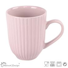 Taza de leche de cerámica grabada en relieve 12oz
