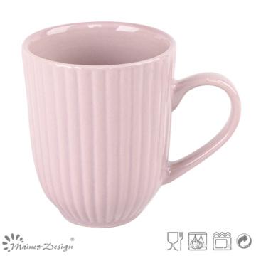 Tasse de lait en céramique gaufrée de 12oz