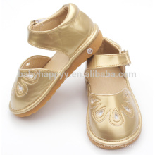 Children squeaky shoes cheap PU leather baby shoes light golden shoes