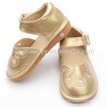 Crianças sapatos de salto barato PU couro sapatos de bebê sapatos de luz dourada