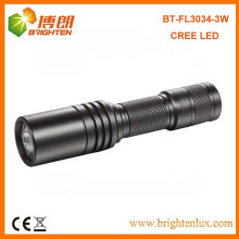 Factory Supply CE ROHS EDC Best Aluminum Small Powerful 3w Cree Pocket led Flashlight with 1*aa or 14500 Dry Battery