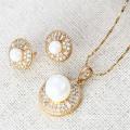 62870 Xuping Fashion White Pearl Jewelry Set, 18K Gold Plated Diamond Jewelry Set