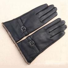 Gants longs en cuir noir pour motos avec manchette tricotée