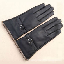 long black leather motorcycle gloves for men with knitted cuff