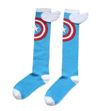 Crianças algodão meias altas meias dos desenhos animados do joelho (ka805)