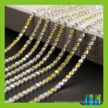 Precio de fábrica nueva cadena cristalina de la taza de strass super cerrada con pedrería de alta calidad para la ropa
