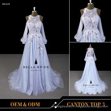 Robe de mariée en marbre bleu longueur au sol 2017 nouvelle robe de mariage en dentelle d'arrivée