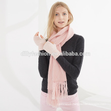 Stylish 7GG women winter argyle pattern knitted cashmere tassel scarf