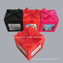 Decorative Ribbon Paper Gift Box with Photo Windwons at Each Side