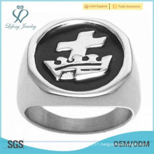 Stainless Steel Men's Masonic Cross & Crown Signet Ring