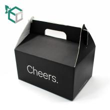 Haute qualité pas cher noir E flûte ondulé papier de qualité alimentaire matériel FSC cupcake boîte d'emballage