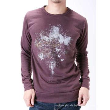 Darkred Siebdruck Mode Cutton Custom Männer Langarm T-Shirt