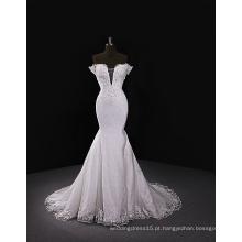 2017 vestido de noiva de decote doce com trem removível