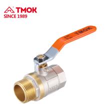 Válvula de bola masculina de cobre amarillo con la bola de cobre amarillo PTFE buena calidad para el agua en TMOK