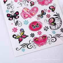 Benutzerdefinierte Mode Tattoo Aufkleber ungiftig Großhandel Schmetterling temporäre Tatoo Blumenaufkleber