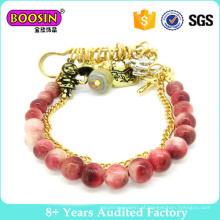 Jóia da forma de ouro banhado a pulseira de contas de vidro # 31469