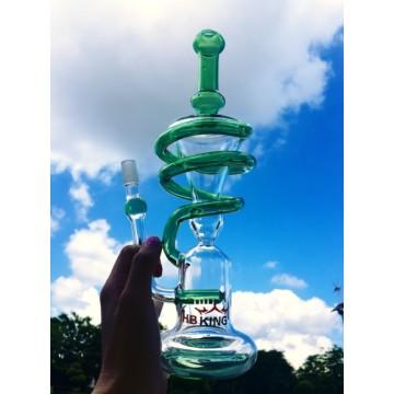 Enjoylife Hbking Tubo de fumar Helix Vidrio Water Piper Recycler Tubo de agua Spiral Glass Tubo de fumar Hbking Waterpipe