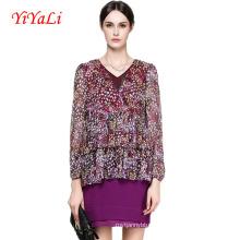 Primavera e Outono Nova Moda Floral Com Decote Em V Mulheres Blusa / Camisa