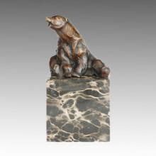 Статуя животных Сидящая медведь Бронзовая скульптура, Мило Тпал-277
