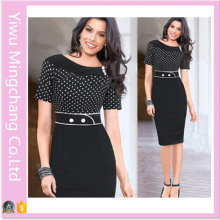 Hot Sale European and American Retro Wave Sleeve Point Stitching Slim Pencil Dress