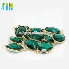 Talão Landing Charms 13 * 18mm Emeral Oval Conector de Cristal De Gema K9 Vidro Cut Facetada Beads por Liga em torno de Jóias conector