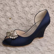 Navy+3%22+Heel+Wedding+Shoe+Wedge+Heel+with+Brooch