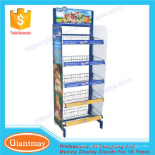 metal potato chip sanck wire basket floor display rack stand for sale