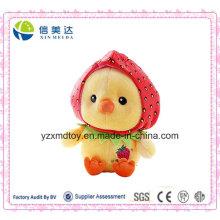 Entzückende gefüllte Ente Plüsch Puppe mit Erdbeerhut Spielzeug