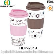 Taza de café plástica libre duradera de BPA de la pared doble (HDP-2019)