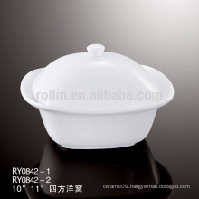 Export ceramic square tureen with lid