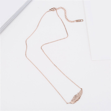 Simple Rose Gold Feather Pendant Necklace Untuk Pacar