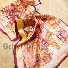 100% silk satin fashion long scarf with digital print