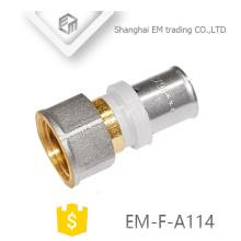 EM-F-A114 conexão de encaixe reto niquelado reta latão tubo de compressão de encaixe