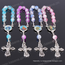 Мода синий Mixedcolour стекла бисера религиозные браслеты Розария