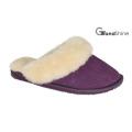 Pantoufles en peau de mouton femme avec cuir véritable